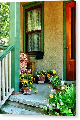 Porch With Padded Chair Canvas Print by Susan Savad
