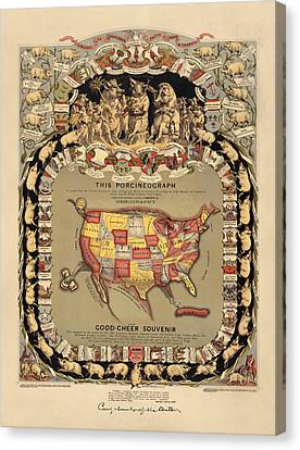 Pork Map Of The United States From 1876 Canvas Print by Blue Monocle