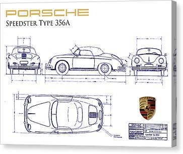 Porsche 356a Blueprint  Canvas Print by Jon Neidert