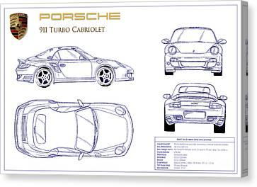 Porsche 911 Turbo Blueprint Canvas Print by Jon Neidert