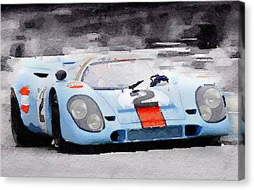 Porsche 917 Gulf Watercolor Canvas Print by Naxart Studio