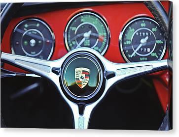 Porsche C Steering Wheel Emblem -1227c Canvas Print by Jill Reger