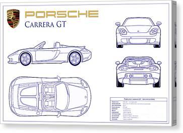 Porsche Carrera Gt Blueprint Canvas Print by Jon Neidert