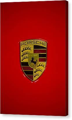 Porsche Emblem Red Hood Canvas Print by Garry Gay