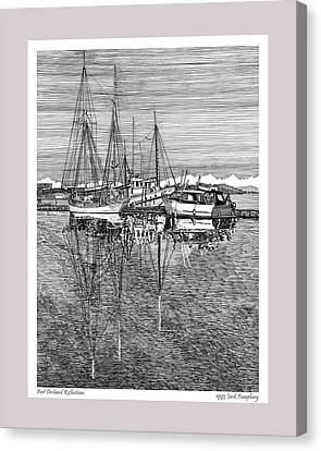 Reflections Of Port Orchard Washington Canvas Print by Jack Pumphrey
