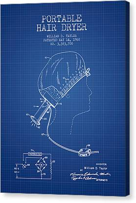 Portable Hair Dryer Patent From 1968 - Blueprint Canvas Print by Aged Pixel