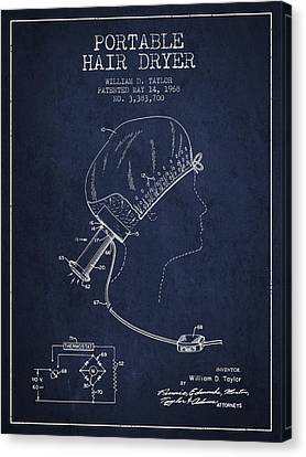 Portable Hair Dryer Patent From 1968 - Navy Blue Canvas Print by Aged Pixel
