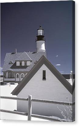 Portland Head Light In Ir Canvas Print by Joann Vitali