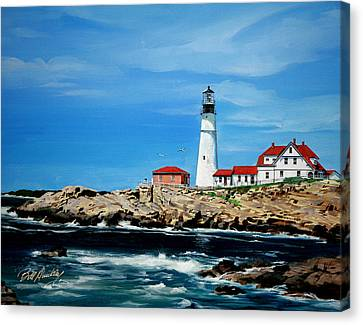 Portland Head Lighthouse Canvas Print by Bill Dunkley