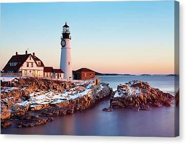 Portland Head Winter Sunrise Canvas Print by Eric Gendron