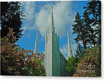 Portland Oregon Lds Temple Canvas Print by Nick  Boren