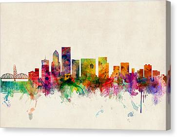 Portland Oregon Skyline Canvas Print by Michael Tompsett