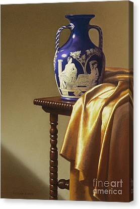 Portland Vase With Cloth Canvas Print by Barbara Groff