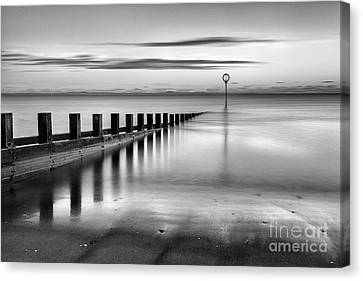 Portobello Beach Groynes Monochromatic Canvas Print by John Farnan