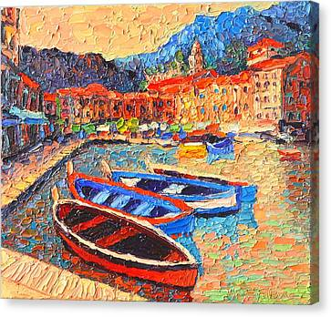 Portofino - Colorful Boats And Reflections In Dawn Light - Italy Liguria Riviera Canvas Print by Ana Maria Edulescu