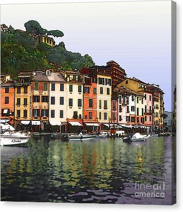 Portofino Harbor Canvas Print by Linda  Parker