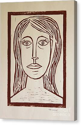 Portrait A La Picasso - Block Print Canvas Print by Christiane Schulze Art And Photography
