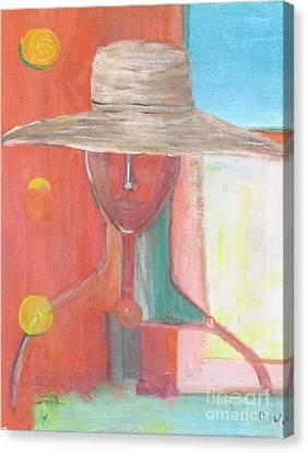 Portrait Avec Le Chapeau Canvas Print by Chaline Ouellet