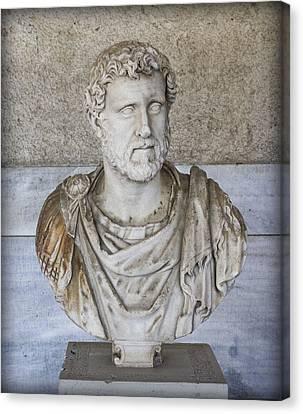 Portrait Bust Of The Emperor Antoninus Plus Canvas Print by Radoslav Nedelchev