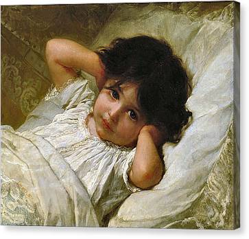 Portrait De Marie-louise  Canvas Print by Emile Munier