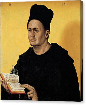 Portrait Of A Benedictine Abbot Canvas Print by Italian School