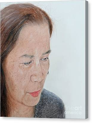 Portrait Of A Filipina In Thought  Canvas Print by Jim Fitzpatrick
