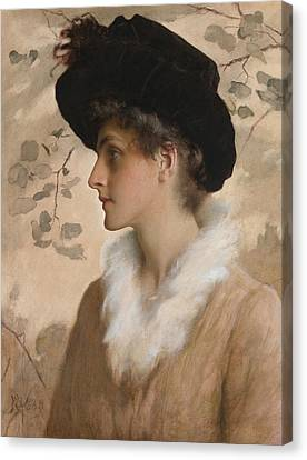 Portrait Of A Lady 1888 Canvas Print by George Henry Boughton