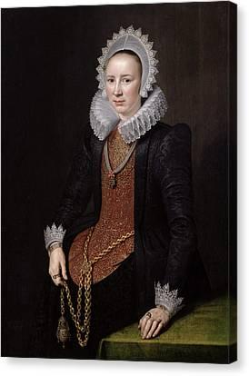 Portrait Of A Lady Aged 29, 1615 Oil On Panel Canvas Print by Michiel Jansz. van Miereveld