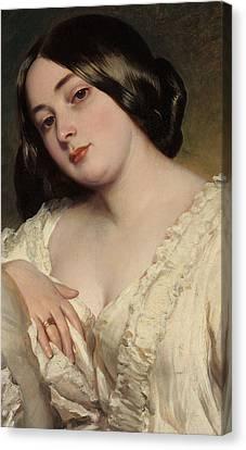 Portrait Of A Lady Canvas Print by Franz Xaver Winterhalter