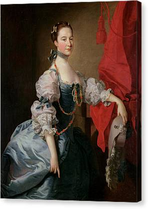 Portrait Of A Lady In A Blue Gown Canvas Print by Thomas Hudson