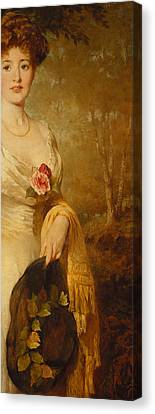Portrait Of A Lady In A White Dress Canvas Print by George Elgar Hicks