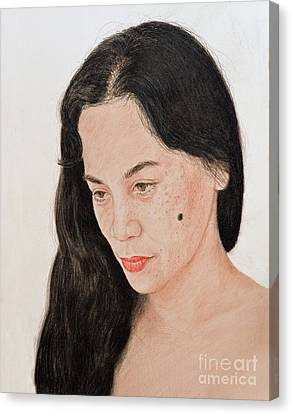 Portrait Of A Long Haired Filipina Beautfy With A Mole On Her Cheek Canvas Print by Jim Fitzpatrick