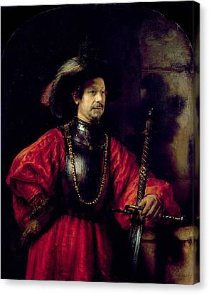 Portrait Of A Man In Military Costume Canvas Print by Rembrandt Harmensz. van Rijn