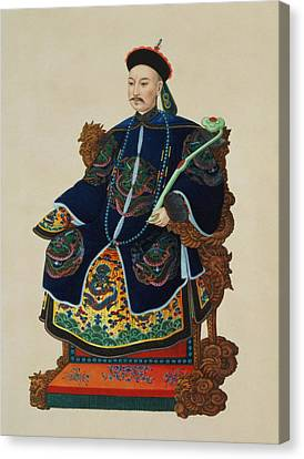Portrait Of A Mandarin Canvas Print by Chinese School