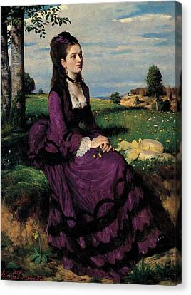 Portrait Of A Woman In Lilac Canvas Print by Pal Szinyei Merse