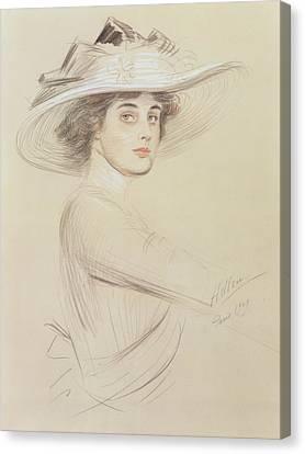 Portrait Of A Woman Canvas Print by  Paul Cesar Helleu