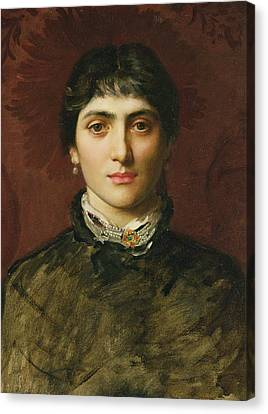 Portrait Of A Woman With Dark Hair Canvas Print by Valentine Cameron Prinsep