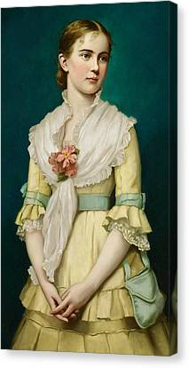 Portrait Of A Young Girl Canvas Print by George Chickering Munzig