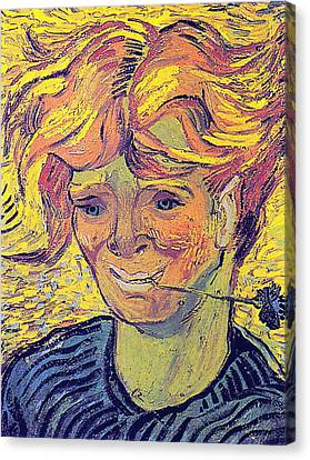 Portrait Of A Young Man With Cornflower Canvas Print by Vincent Van Gogh