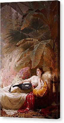 Portrait Of Adelaide Maria Guiness Reclining On A Sofa In A Conservatory Canvas Print by George Elgar Hicks