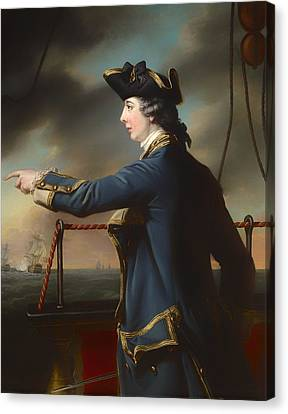Portrait Of Captain Edward Knowles Of The Royal Navy Canvas Print by Mountain Dreams