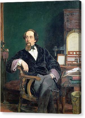Portrait Of Charles Dickens Canvas Print by William Powell Frith