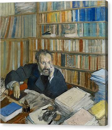 Portrait Of Edmond Duranty, 1879 Canvas Print by Edgar Degas