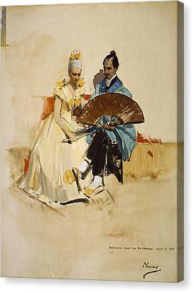 Portrait Of Edward Arthur Walton With His Fiancee Helen Law As Hokusai And The Butterfly, 1889 Oil Canvas Print by Sir John Lavery