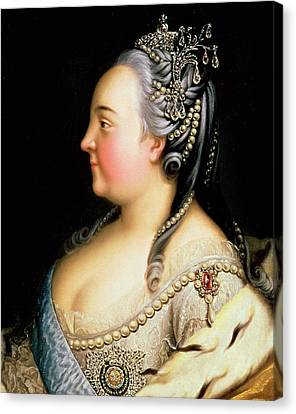 Portrait Of Elizabeth Petrovna Empress Of Russia Canvas Print by Heinrich Buchholz