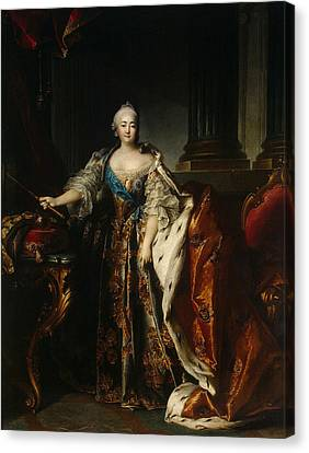 Portrait Of Empress Elizabeth, 1758 Oil On Canvas Canvas Print by Louis M. Tocque