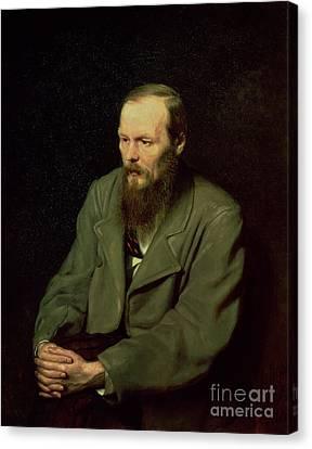 Portrait Of Fyodor Dostoyevsky Canvas Print by Vasili Grigorevich Perov