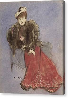 Portrait Of Gabrielle Rejane Canvas Print by Ramon Casas