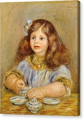Portrait Of Genevieve Bernheim De Villiers Canvas Print by Pierre-Auguste Renoir