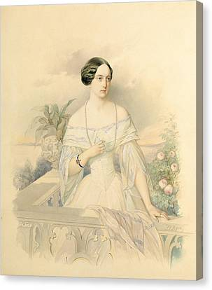 Portrait Of Grand Duchess Olga Nikolaevna Canvas Print by Vladimir Ivanovich Hau
